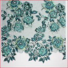 Green Sequin Glitter Bridal Veil Crochet Lace Dress Material