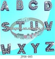 Charm diamond letter slide charm,alphabet charms-ZS3002