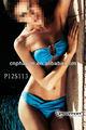 2014 azul crotcheted nylon spandex quanlity elevado da senhora bikini swimwear