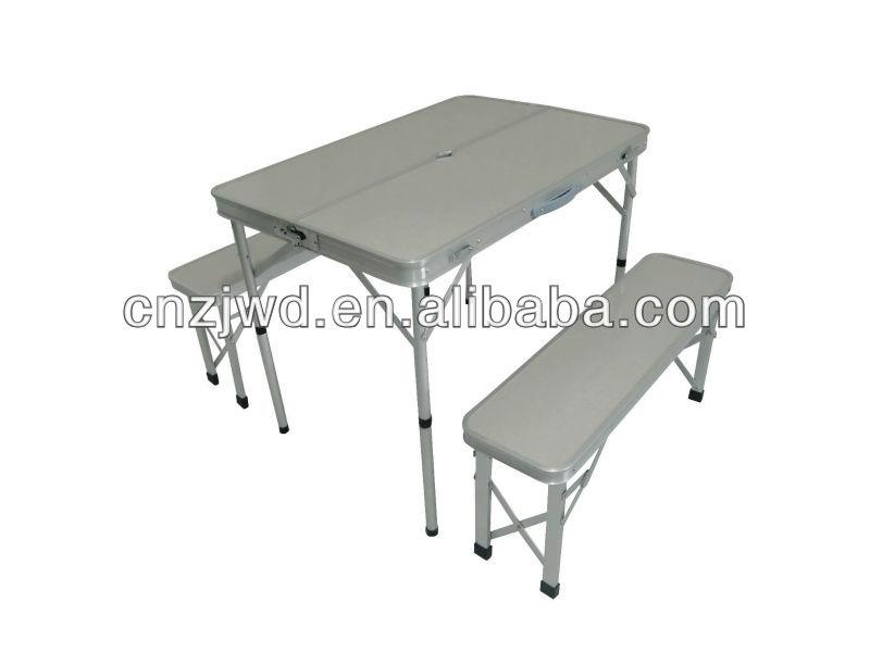 Aluminium table pliante de camping avec deux longues banc for Table pliante avec banc