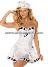 H6215 sexy white pilot and stewardess dress