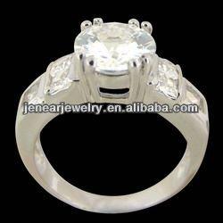 De gros bijoux, zircon bague sans plomb, sans nickel, plaqué rhodium