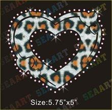 Heart rhinestone transfer motif leopard glitter