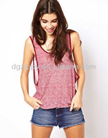 Sexy Girls Sleeveless Top in Cut and Sew Fabric