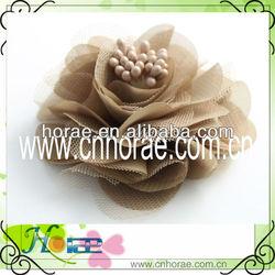 Hot sale decorative handmade chiffon flower applique for garment