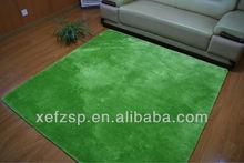 microfiber polyester shaggy green rug