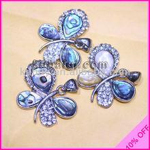 Solid Abalone Shell Pendant Luxury Rhinestone Butterfly Pendant ASPT-58