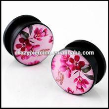 japanese flower logo ear stretcher plug fashion body jewelry