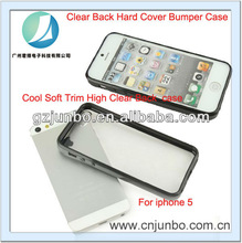 New Black Cool Soft Trim High Clear Back Hard Cover Bumper Case for iPhone 5 5G