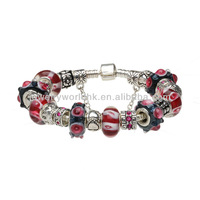 Fashion Wholesale Beautiful Style Red Evil Eyes Murano Glass Beads Charm Beaded Silver Plated Bracelet Jewelry Jewellery