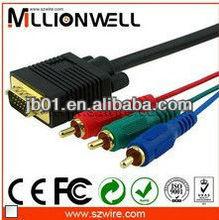 Hi-Fi gold plated audio cable vga rca,vga to 3rca cable,vga rca