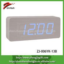 digital wooden world blue clock