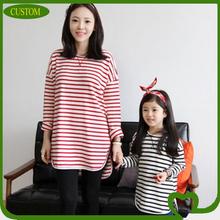 2014 OEM fashion custom striped long sleeve O neck family matching t shirt