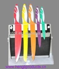colourful teflon non-stick knife set with acrylic block