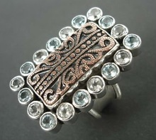 RFMN0027 - Sterling Silver Ring Contemporary with Brass Motif & Gemstones