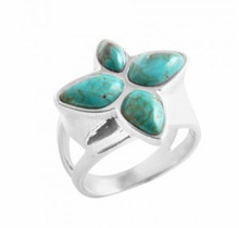 Unique design sterling silver ring with flower turquoise