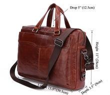 Classic Vintage Leather Men's Chocolate Messenger Bag Laptop Bag # 7162B