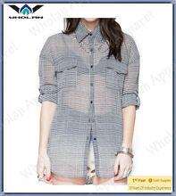 2013 Fashion woman plaid blouse neck design of blouse