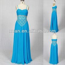 2013 Popular Spaghetti Strap Heavy Beading Blue Princess Chiffon Prom Dresses