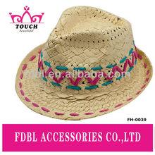 FH-0039Fashion ladies paper straw fedora hat