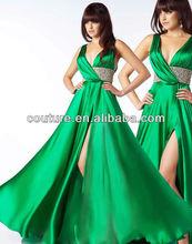 Real Sample Cheap Sexy V-Neckline Open Back Beaded Waist Green Turkish Evening Dresses 2015 OW172
