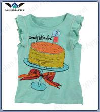 100% cotton baby girls tshirt fashion custom printed tshirts