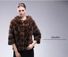 0564 Real genuine Coffee Mink Fur coat jacket garment clothing overcoat coats