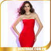 2014 newest strapless red dresses super model