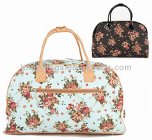 Chic Chintz Toile Canvas Cotton Floral Pattern Weekender Duffle Bag