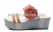 Lady platform handmade straw slipper straw sandals wholesale with flower