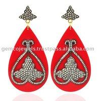 14k Yellow Gold Genuine Pave Diamond Studded Designer Drop Shape Bakelite Dangle Earrings Wholesale Handmade Jewelry