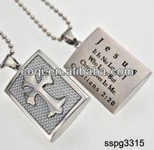 2014 Cheapest high quality stainless steel Cross pendant Religious Pendant poker gift set