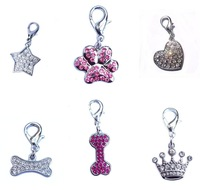 Bone Heart Star Paw Crystal Pet Charms for Dog Cat Collars