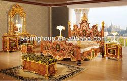 Luxury Bedroom Set, Italian Royal Style Wedding Furniture 24K Gold Plated