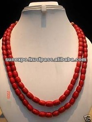 466c TIBETAN RED CORAL 9-12mm BEADS GEMSTONE NECKLACE