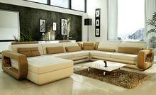 2014 Hot Sale Modern big white U-shaped genuine leather round Corner Sofa Best living room sofa 9119