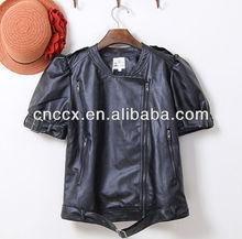 14PJ1109 Pu leather fashion design jacket without sleeve