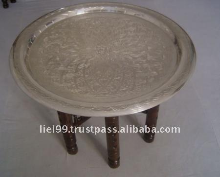 Marocchina argento placcato 20 vassoio pieghevole tavolo for Table a the marocaine