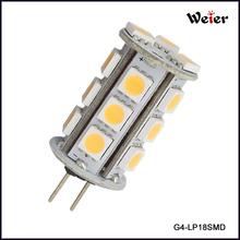Auto Light 18 SMD LED 5050 G4 3W 12V DC 180lm CE&RoHS Approved (G4-LP18SMD)