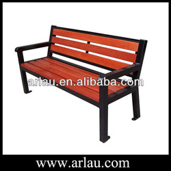 Outdoor thick wooden bench seat with backrest and armrest FW52