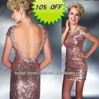 Hot Sale Good Quality Sequin Beaded Cap Sleeve Open Back Sexy Short Evening Dress
