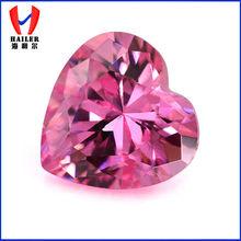 Machine Cut Heart Shape Pink Loose sintetic gems