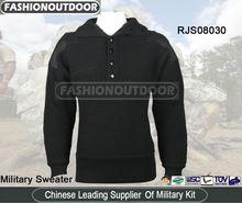 Black Wool Nylon Military Sweater German Pullover