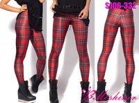 New Arrival Women 2013 Designed digital Printed tights milk vintage Tartan Red Elegant Leggings