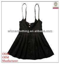 elegant ang fairy black satin swing top for women