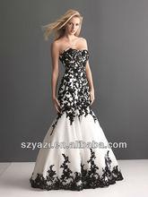 Black Lace applique mermaid fashion women wedding dresses 2014 DA001