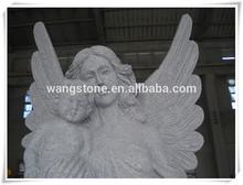 Antique art granite angel carving garden statue