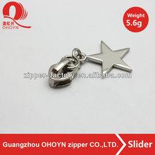 Handbag accessories star shape metal zipper puller high quality zipper slider5.6g