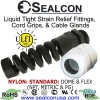 STANDARD Black & Gray Nylon: Strain Relief Fittings, Cord Grips, Cable Glands