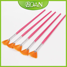 BQAN Red Wooden Handle Nylon Hair Fan Nail Art Brush